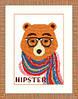 Crystal Art Медведь хипстер Набор для вышивки нитками ВТ-155