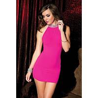 Ярко-розовое мини-платье с пайетками на воротнике