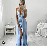 Платье в пол с разрезом и с вырезом декольте
