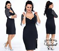 Эффектное платье с декольте и брошью 48,50,52,54