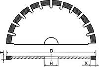 Алмазный круг отрезной сегментный (Тип 1A1RSS) D-350мм (42 Сегмента)
