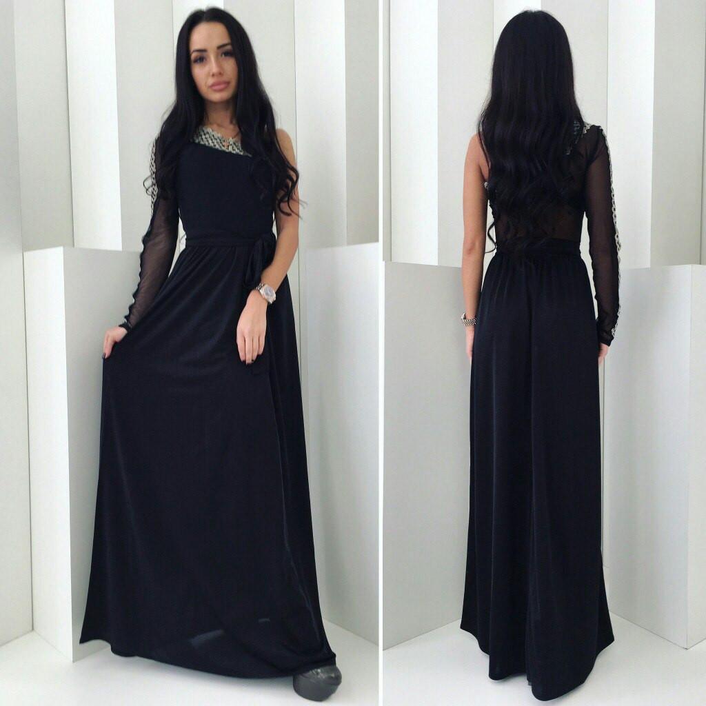 fe623c8e217bd56 Стильное платье из черного кружева в пол - Модадром