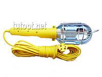 Переносная лампа электрическая - удлинителем 10 метровый под Е27 лампочку 220V жёлтого цвета