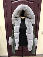"""Зимняя куртка-парка цвета хаки с серым мехом финского песца """"Alexis"""""""