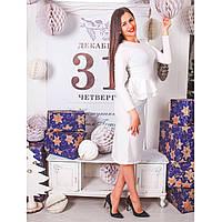 Платье с двойной баской из ангоры размер L 0224 белый