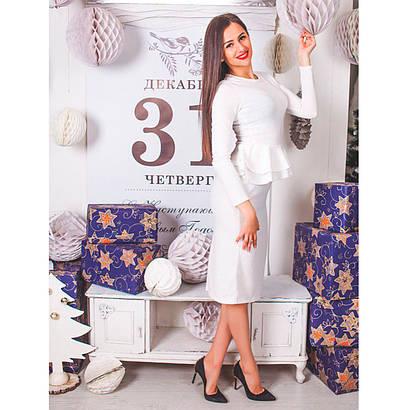 Платье с двойной баской из ангоры 0224 белый