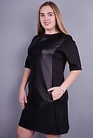 Чикаго. Стильное черное платье больших размеров. Черный., фото 1