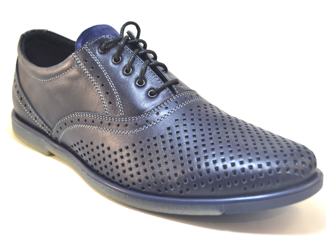 Летние туфли мужские кожаные синие с перфорацией Rosso Avangard Romano pelle traforata nera