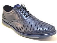 Летние туфли мужские кожаные синие с перфорацией Rosso Avangard Romano pelle traforata nera, фото 1