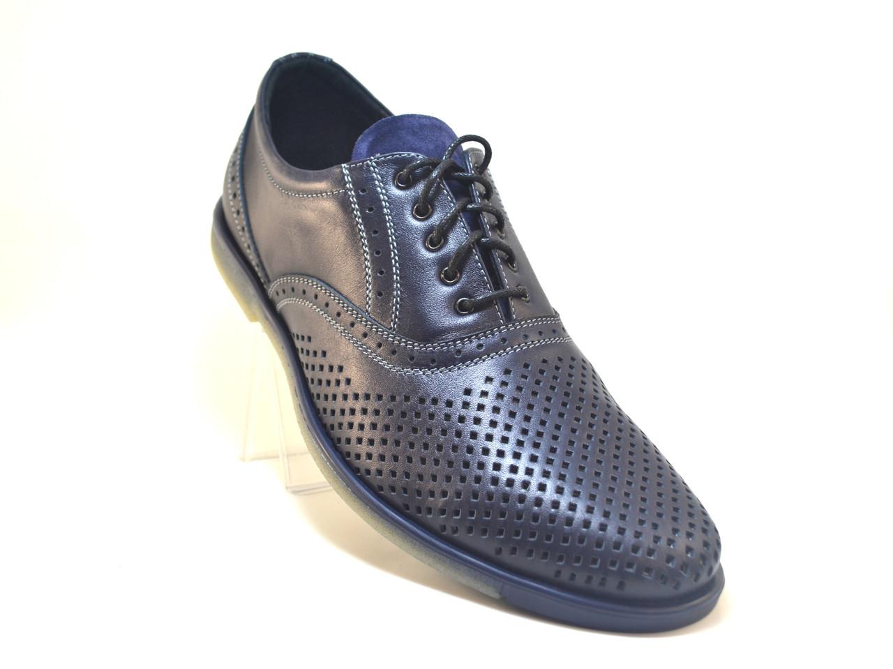 Взуття великих розмірів чоловічі туфлі літні шкіряні сині з перфорацією комфорт Rosso Avangard BS Romano traf