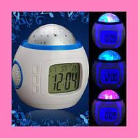 Часы Орбита 1038 настольные (проекция звез.небо, темпер, дата, будильник)!Акция
