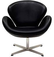 Дизайнерское кресло СВ точная копия SWAN черная искусственная кожа