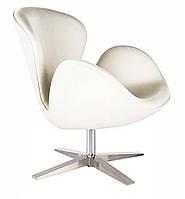 Дизайнерское кресло СВ точная копия SWAN кожзам белый, поворотный механизм, вверх вниз не поднимается