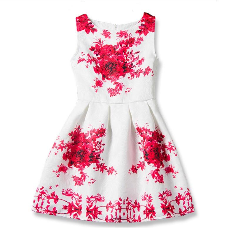 Платье для девочки цветы (красный)