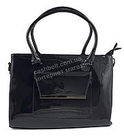 Каркасная лаковая стильная прочная элегантная женская сумка art. 8175 темно синий цвет