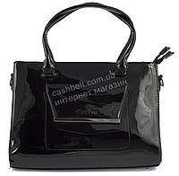Каркасная лаковая стильная прочная элегантная женская сумка art. 8175 черный цвет