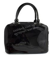 Каркасная лаковая стильная прочная элегантная женская сумка art. 88812 черный цвет
