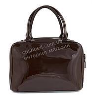 Каркасная лаковая стильная прочная элегантная женская сумка art. 88812 темно коричневый цвет