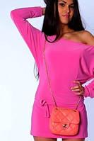 Розовое платье мини | Цельное sk