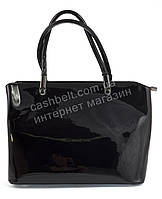 Каркасная лаковая стильная прочная элегантная женская сумка ELEV EVER art. 7087 черный цвет