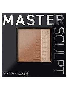"Скульптурирующая пудра ""MASTER SCULPT""  контур + хайлайтер Maybelline"