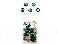 Камни пришивные,цвет зеленый, диаметр 10мм (50шт в упаковке)