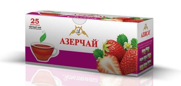 Черный чай Azercay c ароматом клубники 25 пак