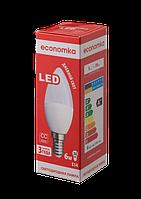Светодиодная лампа ECONOMKA, 6W, 4200K, нейтрального свечения, цоколь - Е14, свеча, 3 года гарантии!!!