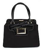 Каркасная замшевая стильная прочная элегантная женская сумка с лаковыми вставками SULIYA art. 819 черный цвет