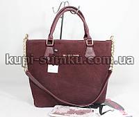 Стильная женская замшевая брендовая сумка цвета марсала