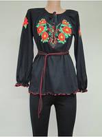 Туника с вышивкой Маки женская и для девушек , модель 710