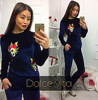 Женский красивый бархатный костюм с аппликацией (2 цвета)