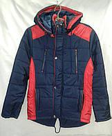 Куртка  подросток парка для мальчика 10-14 лет,темно синяя с красным