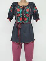 Туника с вышивкой Красные Розы женская