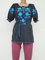 Туника с вышивкой Роза Голубая женская