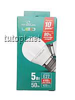 Лампа светодиодная белый свет Titanum G45 5W E27 4100K 220V