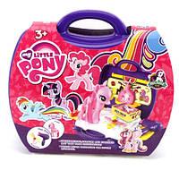 Лошадка DN836F-PO (48шт) LP, 15см, набор парикмахера,14дет, наклейки, в чемодане,24-22-10см