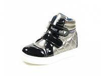 Детские модные ботинки J&G:A-2550-0 Черный-Серый,р.24