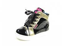 Детские модные ботинки J&G:A-2558-0 Черный-Золото,р.21