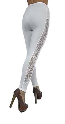 """Жіночі лосини микромало № 214 """"Strip Guipure"""" білі, фото 2"""