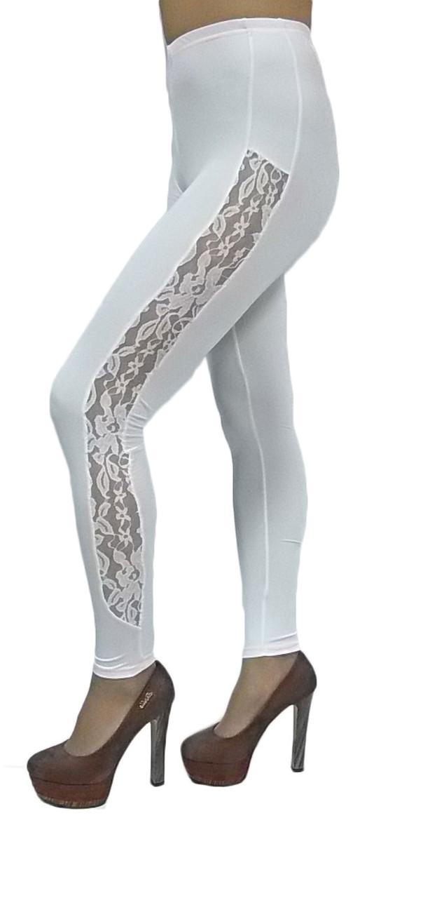 """Женские лосины № 214 """"Strip Guipure"""" белые"""