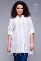Туника из натуральной ткани белый цвет большой размер