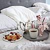 Льняное постельное белье белое 200х220 (оршанский лен)