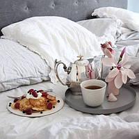 Льняное постельное белье белое 200х220 (оршанский лен), фото 1