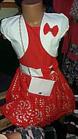 Детское однотонное платье с болеро