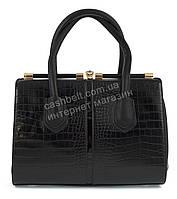 Каркасная стильная прочная элегантная женская сумка ридикюль с тиснением под рептилию  art. 7750-1 черный