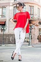 Модный женский костюм белые брюки+шифоновая красная блузка. Арт-5438/56