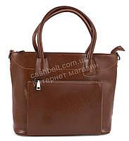 Оригинальная стильная прочная элегантная женская сумка с натуральной кожи   art. 913 коричневый