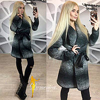 Женское модное твидовое пальто со вставками эко-кожи (+ большие размеры), фото 1