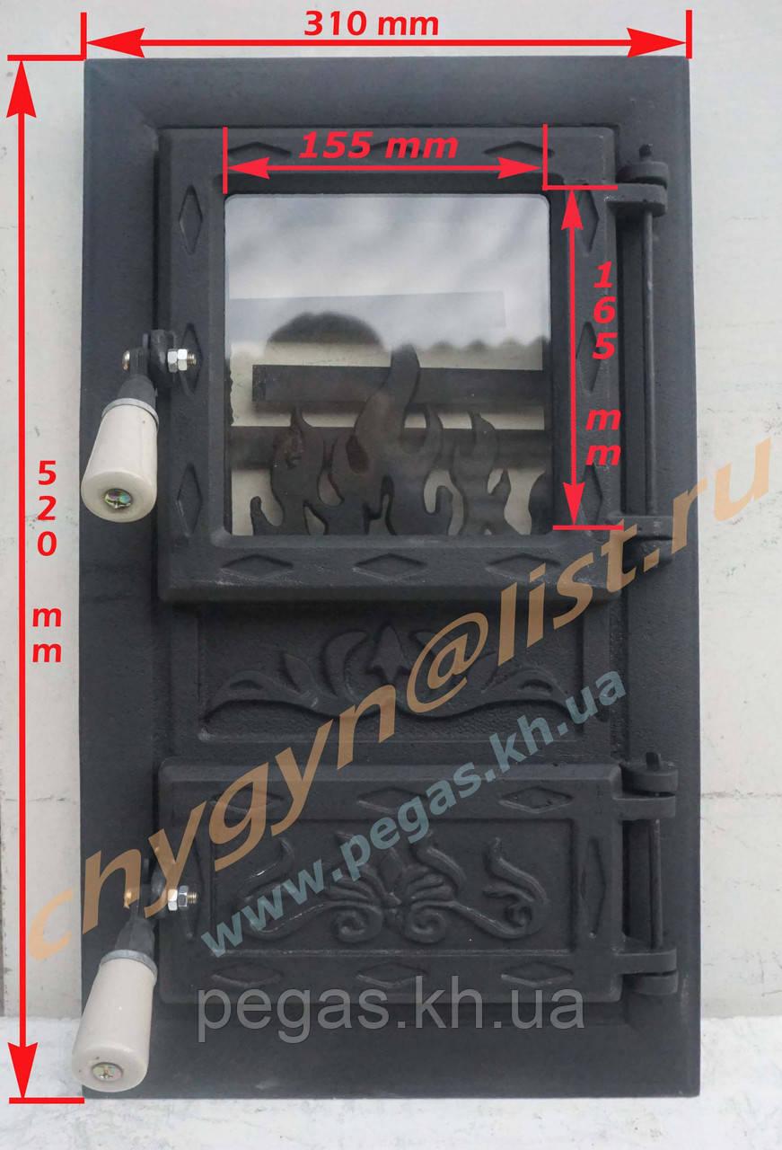 Дверка чугунная с жаростойким стеклом Румынская №7 барбекю, грубу, мангал